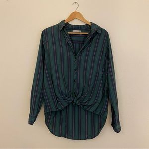 UO Striped Tied Knot Button Down Shirt
